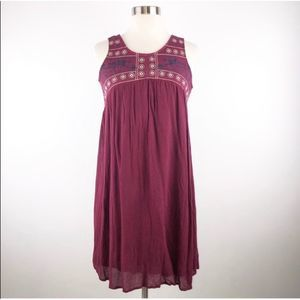 Cupio Maroon Embroidered Open Back Boho Dress XS